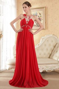 Red Empire Scoop Beading Accent Evening Dress for Graduation in Eagle