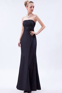 Navy Blue Column Graduation Dresses for College in Aniak with Ruche