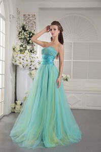 Sweetheart Brush Beaded Aqua Blue Graduation Dresses for High School