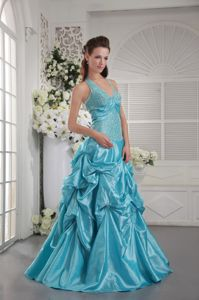 Aqua Blue Princess Halter College Graduation Dress in Alaska with Appliques
