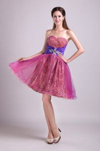Fuchsia A-line Sweetheart Short Leopard Beaded Graduation Dress in Vincent