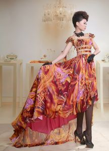 Multi-color Printing Beaded High-low 2013 Graduation Dress in Valley Head