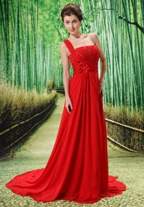 One Shoulder Appliques Beaded Graduation Dresses for College in Red