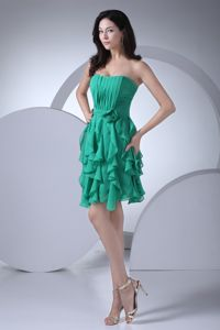 Short Sash Graduation Dresses for High School in Trinity with Ruffled Layers