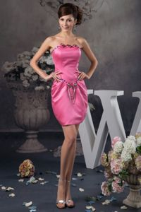 Mini Hot Pink Junior Graduation Dresses with Beading and Ruches Accent