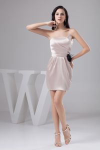 Champagne Mini-length Cheap Graduation Dresses in Tanner with Ruche