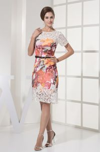 Scoop Short Sleeves Lace and Printing Graduation Dresses with Sash