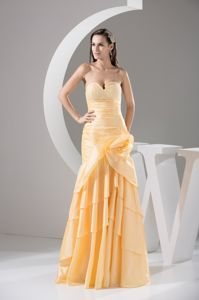 Sweetheart Ruching and Flowers Layers Sheath Yellow Graduation Dresses