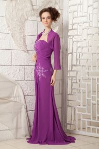 Purple One Shoulder Appliques Brush Cheap Graduation Dresses in Salem