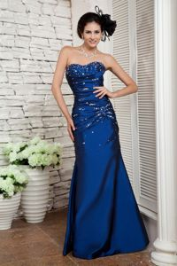 Sweetheart Beading Navy Blue Column Senior Graduation Dress in Roanoke