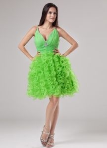 Beading and Ruffles A-line V-neck Spring Green Graduation Dress in Oakman