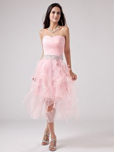 Baby Pink Sweetheart Ruffles Graduation Dress Beads and Ruche Decorate