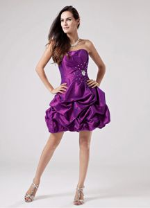 Eggplant Purple 2013 Beaded Ruched Graduation Dresses for Grade 8