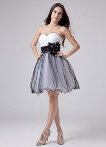 White and Black Eighth Grade Graduation Dresses with Sash and Ruche