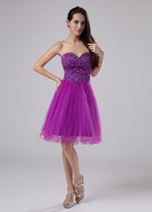 Beading Decorate Sweetheart Fuchsia Graduation Dresses for High School