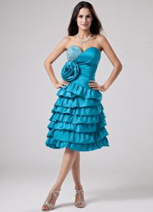 Teal Sweetheart 2013 Middle School Graduation Dresses with Ruffled Layers