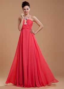 V-neck Beading and Appliques Accent Coral Red Grad Dress in Mc Calla