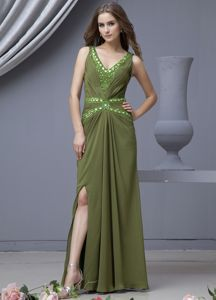 V-neck High Slit Olive Green University Graduation Dress Beading Decorate