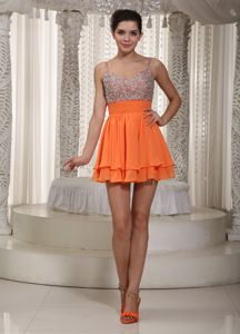 Orange Spaghetti Straps Short Beaded Junior Graduation Dresses in Lanett