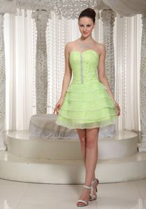 Yellow Green Beading Decorate with Sweetheart Cheap Graduation Dresses