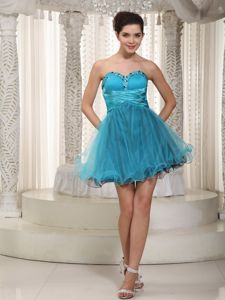 Teal A-line Mini-length Beading Evening Dress for Graduation in Hueytown