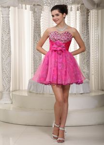 Sweetheart Mini-length Prom Dress for Graduation with Beading and Flower