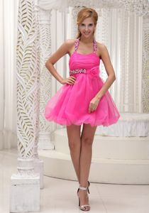 Halter Hot Pink Graduation Dress in Harpersville with Flower and Beading