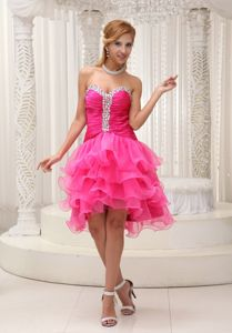 Sweetheart Ruched College Graduation Dress in Hanceville Beads Decorate