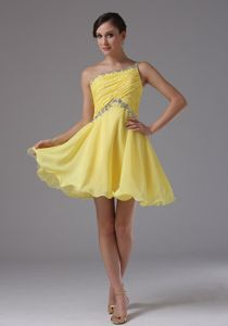 Ruche and Beads for Yellow Graduation Dress in Geneva One Shoulder Design