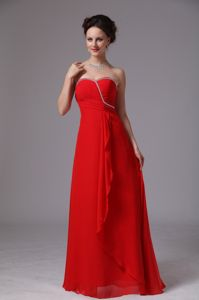 Red Sweetheart Beaded Graduation Dresses for Girls in Gadsden with Ruche