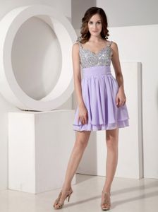 Lilac Empire Strap Mini-length Beaded Middle School Graduation Dresses