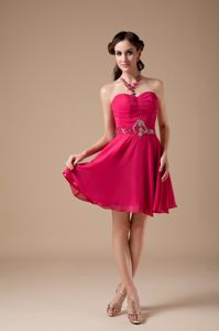 Hot Pink Sweetheart Beaded Mini-length Graduation Dresses for High School