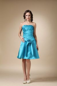 Knee-length Flower Turquoise A-line Accent Graduation Dresses for Grade 8