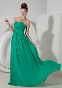 Turquoise Ruched Graduation Dress with Brush Train in Breckenridge