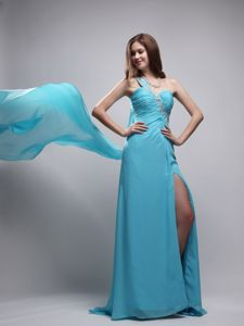High Slit Beaded One Shoulder Watteau Train Aqua Blue Grad Dress