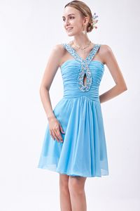 V-neck Beading Baby Blue Ruched Chiffon Vail Graduation Dress