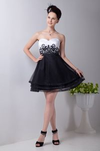 Appliques Black and White Organza Graduation Dress in Westminster