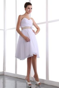 Hand Made Flower White Ruched Belt Graduation Dress in Middletown