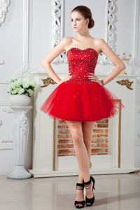 Tulle Beading Red Cute Graduation Dresses in Saint-Hyacinthe