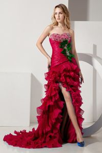 Ruffles High-low Ruched Train Organza Red Dover Graduation Dress