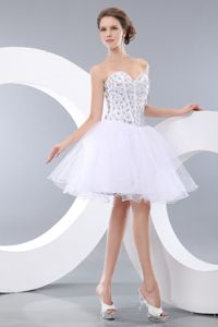 Colored Rhinestones Organza White Graduation Dress in Wilmington