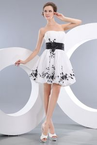 Ruched Belt Appliques White Graduation Dresses in West Hartford