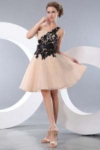 Appliques One Shoulder Black Belt Champagne Graduation Dresses