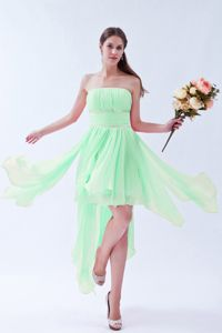 Asymmetrical Beading Ruched Apple Green Sanford Graduation Dress