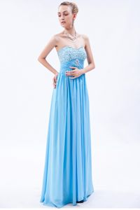 Beaded Baby Blue Chiffon Ruched Strathcona County Graduation Dress