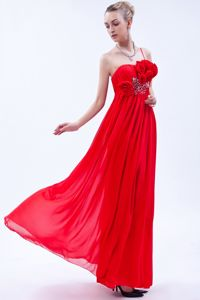 Pleating Flowers Red One Shoulder Graduation Dress in Peterborough
