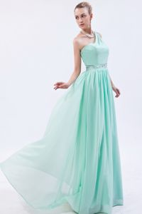 Apple Green Beaded One Shoulder Chiffon Clarington Graduation Dress