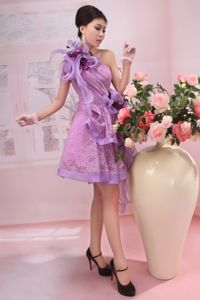 Lace One Shoulder Lavender Graduation Dress with Flowers in Alberta