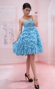 Ruffles Appliques Strapless Baby Blue Terrebonne Graduation Dress