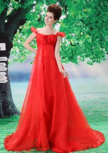 Off The Shoulder Red Organza Court Train Cambridge Grad Dress
